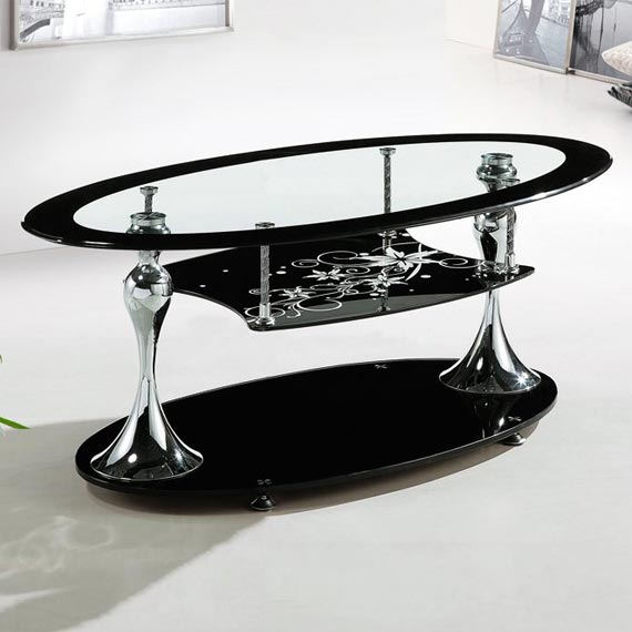 Oval Coffee Table with Magazine Rack